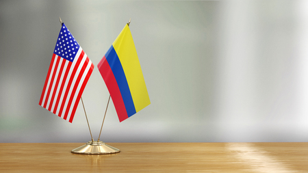American and Colombian flag pair