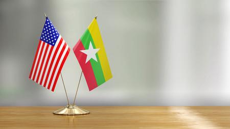 American and Myanmar flag pair