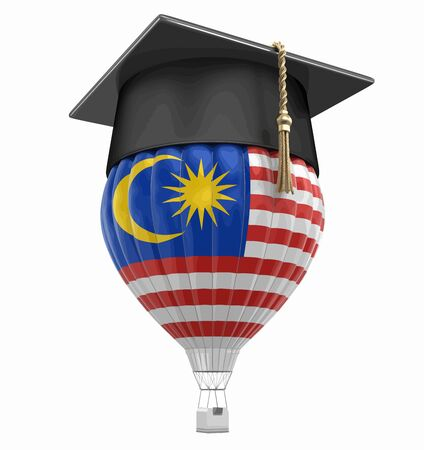 Hot Air Balloon with Malaysia flag and Graduation cap (clipping path included) Ilustrace
