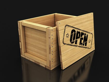 Wooden crate with Open. Image with clipping path Stok Fotoğraf
