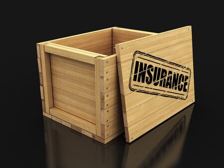 Wooden crate with stamp Insurance. Image with clipping path