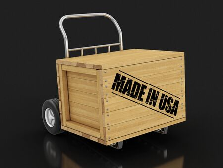 Wooden crate with Made in USA on Hand Truck. Image with clipping path
