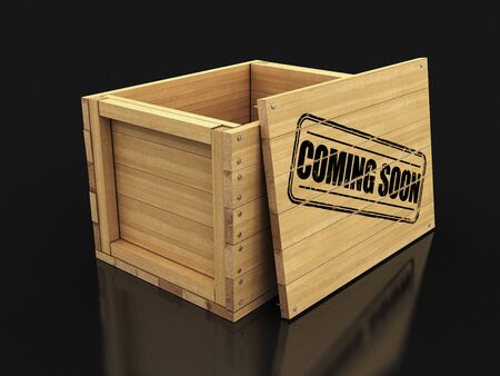 Wooden crate with stamp Coming soon. Image with clipping path