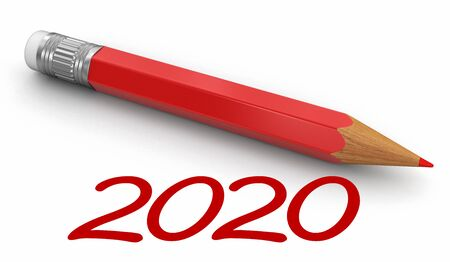 New Year 2020 with pencil. Image with clipping path.