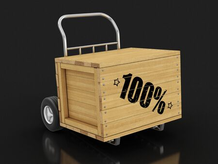 Wooden crate with 100% on Hand Truck. Stock fotó