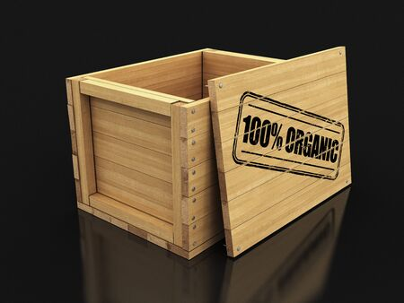 Wooden crate with stamp 100% Organic. Stock fotó