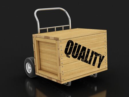 Wooden crate with Quality on Hand Truck.
