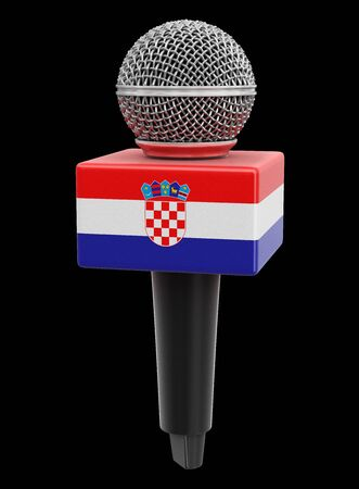 Microphone with Croatian flag. Image with clipping path