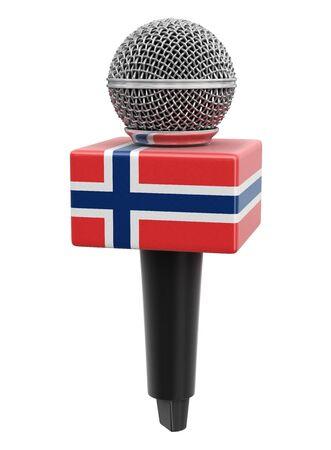 Microphone and Norwegian flag.