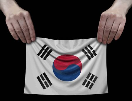 South Korean flag in hands