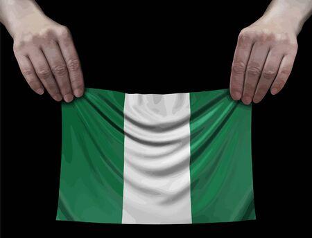 Nigerian flag in hands Ilustração