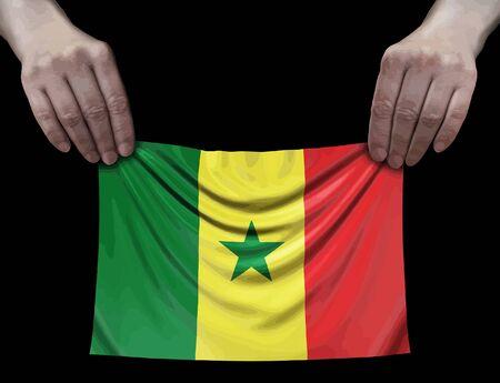 Senegal flag in hands Ilustração