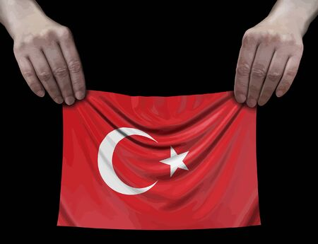 Turkish flag in hands