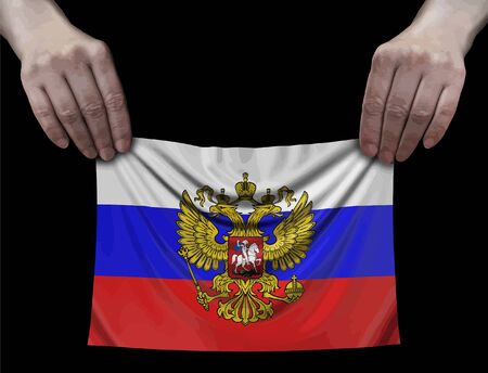 Russian flag in hands