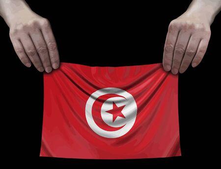 Tunisia flag in hands Ilustração