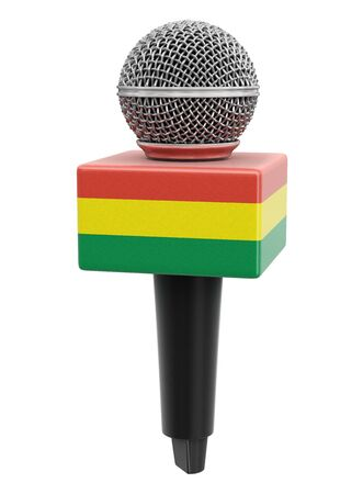Microphone and Bolivian flag.
