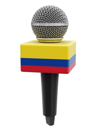 Microphone and Colombian flag.