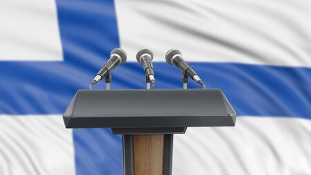 Podium lectern with microphones and Finnish flag in background