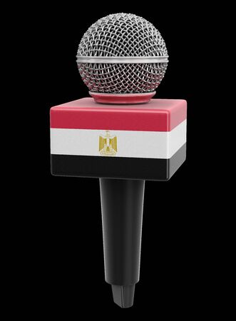 Microphone and Egyptian flag. Stock Photo