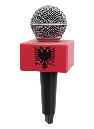 Microphone and Albanian flag.