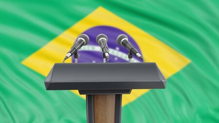 Podium lectern with microphones and Brazilian flag in background Reklamní fotografie