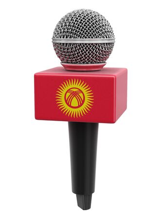 Microphone and Kirghiz flag.
