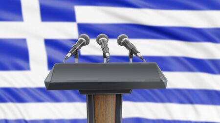 Podium lectern with microphones and Greek flag in background
