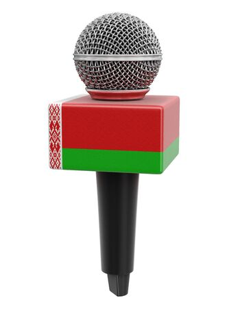 Microphone and Belarus flag. Stock Photo