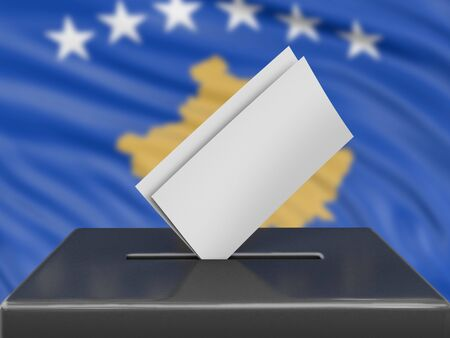 Ballot box with Kosovo flag on background