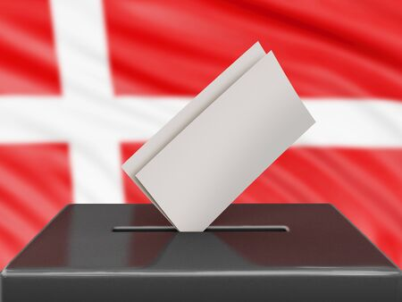 Ballot box with Danish flag on background