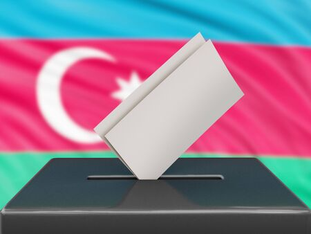 Ballot box with Azerbaijan flag on background