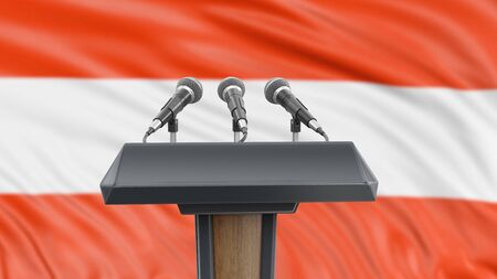 Podium lectern with microphones and Austrian flag in background