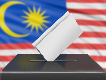Ballot box with Malaysia flag on background