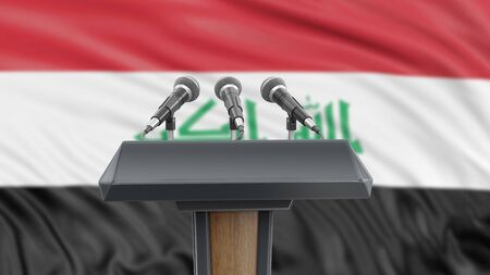 Podium lectern with microphones and Iraq Flag in background Reklamní fotografie