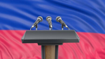 Microphone and Haitian flag.