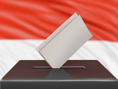 Ballot box with Indonesian flag on background