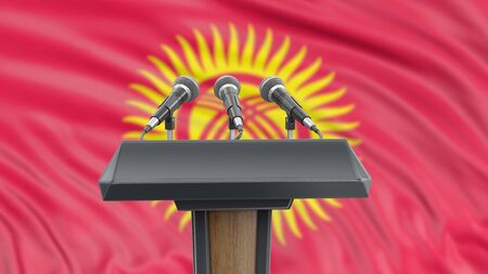 Podium lectern with microphones and Kirghiz flag in background Reklamní fotografie