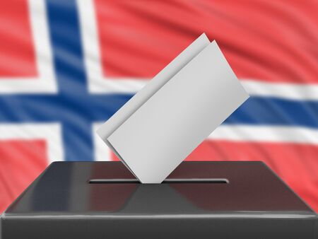 Ballot box with Norwegian flag on background