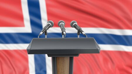 Podium lectern with microphones and Norwegian flag in background