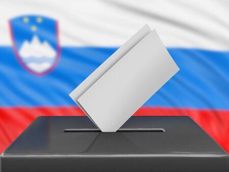 Ballot box with Slovenian flag