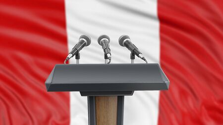 Podium lectern with microphones and Peruvian Flag in background