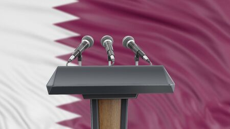 Podium lectern with microphones and Qatar flag in background Reklamní fotografie