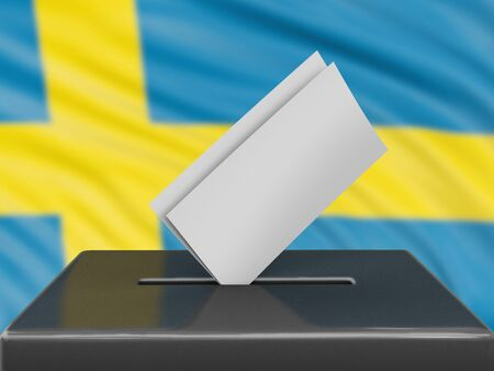 Ballot box with Swedish flag on background Banque d'images
