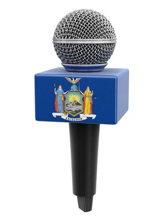 Microphone and New York flag. Stok Fotoğraf