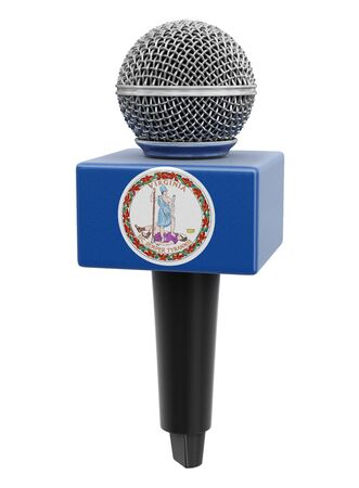 Microphone and Virginia flag.