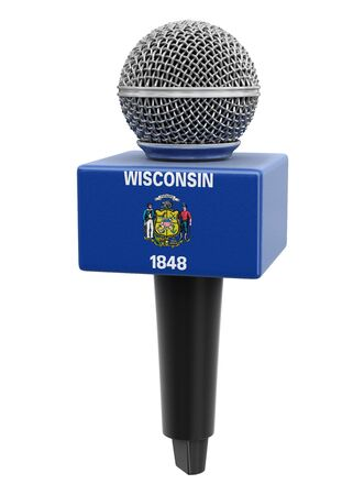 Microphone and Wisconsin flag.