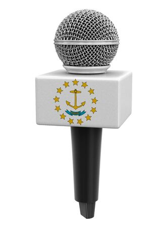 Microphone and Rhode Island flag. Stok Fotoğraf