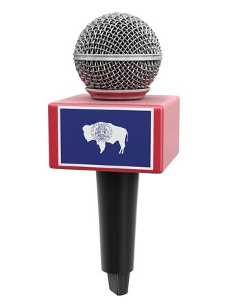 Microphone and Wyoming flag. Stok Fotoğraf