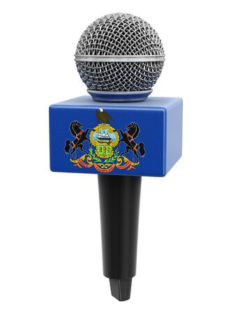 Microphone and Pennsylvania flag .