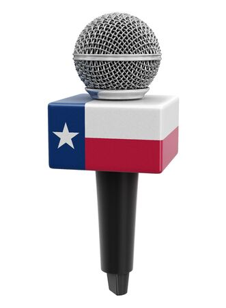 Microphone and Texas flag.